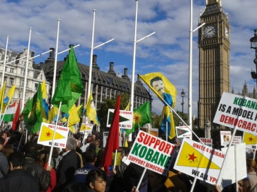 Thousands of Kurds rallied in Parliament Square, London, in scenes reminiscent of the Tamil community mobilisations during the 2009 massacres