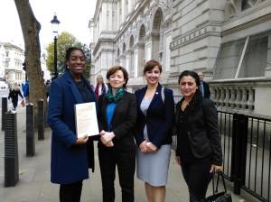 Kate Osamor MP; Melanie Gingell, lawyer; Michelle Allison (KNK); Evrim Yilmaz (Roj Women)