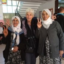 Margaret Owen with voters in Sur, Diyarbakir